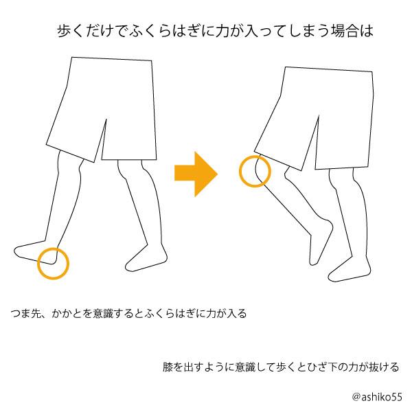 膝を出す歩き方